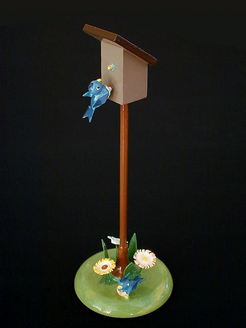 青いことりのオブジェ